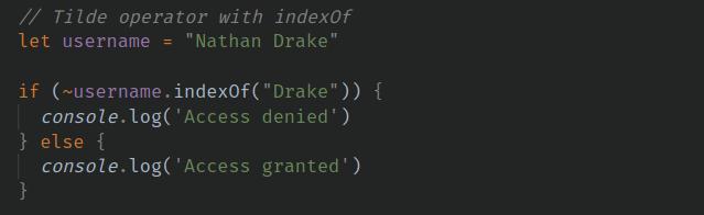 indexOf with Tilde operator