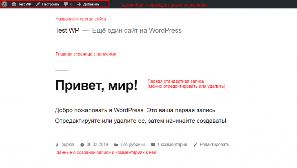 Внешний вид стандартной главной страницы WordPress