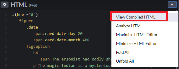 Показать скомпилированный html