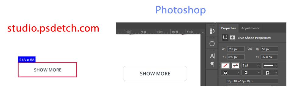 Размеры элементов в PSDETCH и в Photoshop