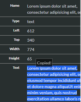Копирование текста при клике на нем в PSDETCH V3