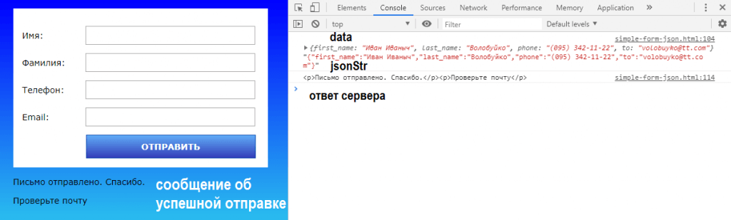 Отправка формы с помощью AJAX и JSON