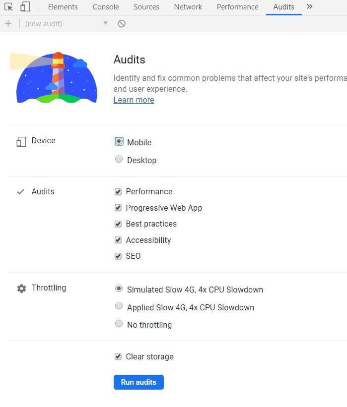 Вкладка Audit в браузере Chrome