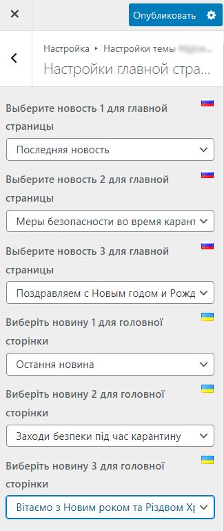 Настройки в Customizer для разных языков