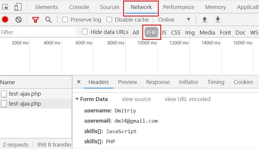 Запрос с несколькими чекбоксами в Chrome