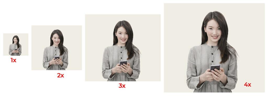 Изображения размером от 1x до 4x